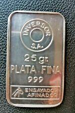 LINGOTE  DE PLATA  PURA 999 (25GRAMOS) silver bar, silber barren lingotto