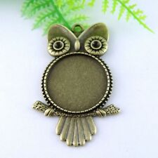 38964 Antique Bronze Alloy Owl Cameo Setting Pendant Charms 25*25mm 5PCS