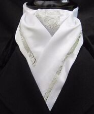 Ready Tied White & Silver Paisley Faux Silk Dressage Riding Stock Show Tie