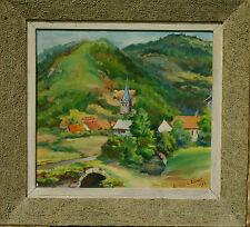 Peinture vue de Lepuix-Gy Territoire de Belfort Gainnet 1949 Franche-Comté