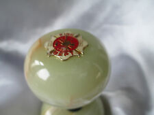 FIRE DEPARTMENT DEPT. RED METAL PIN on Wine Bottle Stopper Onyx Knob/Satin Gift
