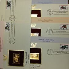 22K Gold 1995 Antique Automobiles 1st Day Covers Gold Proof Full Set of 5 NoAddr