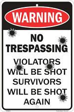 funny man cave sign plastic Warning no trespass violator shot gun ammo target 22