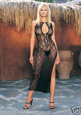 2 PC. Keyhole High Slit Swirl Lace Long Gown and Matching G-String [LA8536]