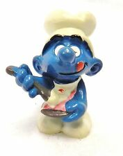 Smurf Schleich Peyo Rare Pastry Chef Baker Spoon Greedy Hong Kong 1983 Vintage
