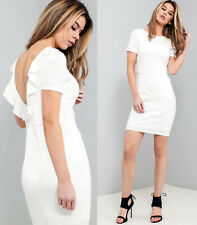 ASOS Frill Back Mini Dress in White Sizes 6 to 18