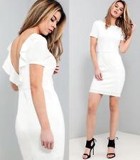 ASOS Frill Back Mini Dress in White Sizes 6 to 18