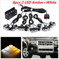 Amber 8pcs 2LED Car Front Grille Strobe Light Bar Emergency Warning Hazard Lamp
