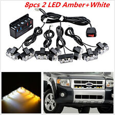 8× Car Front Grille Strobe Light Bar Warning Hazard Emergency Beacon 2 LED Lamp