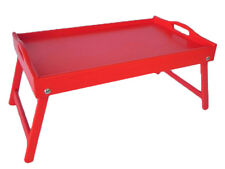Wooden Lap Tray Breakfast in Bed Serving with Folding Legs Table Mate Wipe RED