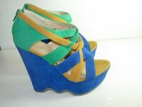 WOMENS BLUE YELLOW GOLD GREEN PLATFORM WEDGE SANDALS HIGH HEELS SHOES SIZE 5.5 M