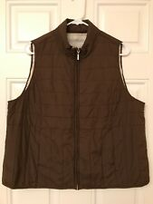 Relativity Quilted Vest Brown Sleeveless Zippered Front Size 1X
