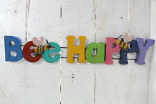 Recycled Metal Bee Happy Decorative Wall Decor