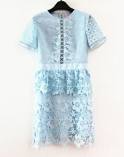 New TED BAKER Light Blue DIXA Layered Lace Skater Dress RRP £249 sz 4 UK 14
