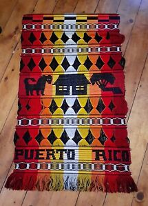 Vtg Tejidos Indigenas Woven Wall Hanging Tapestry Puerto Rico Boho Cultural Art