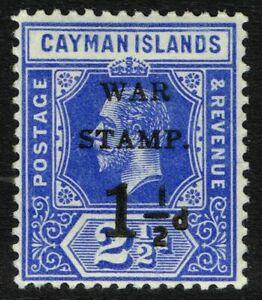 SG 53 CAYMAN IS. 1917 WAR STAMP - 1.5d on 2.5d DEEP BLUE (opt. type 14) - M/M