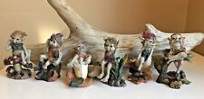 6 Pixie Figurines Pixies on Toadstool New 3 in. Playful Garden Village