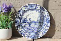 Vintage DELFT blue white pottery plate marked Spring season
