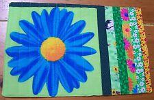 """AF0060 4 HOT SUMMER DAISY ART PLACEMATS quilt fabric HANDMADE 11 X 16"""" patchwork"""