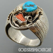 ALBERT MCCABE NAVAJO STERLING SILVER TURQUOISE CORAL WIDE MEN'S RING (12) #3172