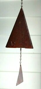 Orig 70s-80s Signed JC Colorado JOE CONIFF WIND BELL 3 Sided Steel Chime Pyramid
