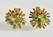 Vintage Jade et Diamant Boucles D'Oreilles 14k