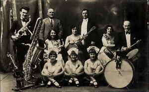 Music Band Orchestra Saxophone Drums Little Girls Real Photo Postcard c1915