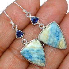 Blue Scheelite - Turkey & Iolite 925 Sterling Silver Earrings Jewelry AE162538