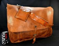 Vintage US Mail Bag WWII 1943 Western MFG Leather XL British Tan Belting Leather