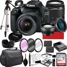 Canon EOS 2000D (Rebel T7) DSLR Camera with 18-55mm f/3.5-5.6 Zoom Lens, 64GB...