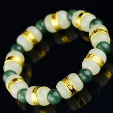 New Natural Hetian Jade with Oil-Green Jadeite beads Bracelet 16cm L