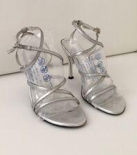 Stuart Weitzman Silver Heels Prom Sandals 6.5 M