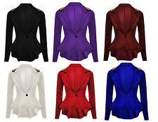 New Women's Plain Spike Studded Peplum Frill Blazer Slim Fit Jacket Size 8-24