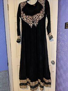 Indian Pakistani Womens Black Maxi Dress 2 Piece Suit Embroidery Size M