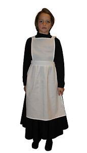 Girls Victorian / Edwardian Maids Pinafore Apron Fancy Dress Costume