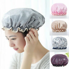 Double Women Shower Satin Bathing Cap Hats Reusable Waterproof Hair Cover Cap