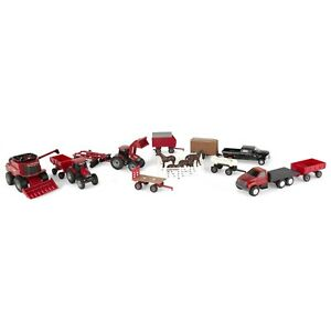 Case IH 20pc Farm Toy Tractor & Wagon Play Set 1/64 Scale TOMY Toy