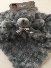 Blankets And & Beyond Baby Boy Security Lovey Nunu Dark Grey Bear Swirls Rosette