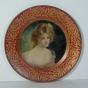 1907 TIN LITHOGRAPH ADVERTISING TRAY / PLATE WITH BEAUTIFUL WOMAN NEAR MINT