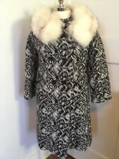 Vtg 60s MOD Abstract Tapestry Swing Coat Fox Fur Trim Collar Women's size M
