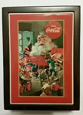 COCA COLA WOODEN CHRISTMAS JEWELRY BOX WITH CERAMIC TILE LAMINATE, SANTA, NEW