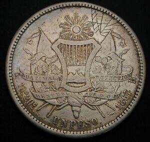 GUATEMALA 1 Peso 1867 R - Silver - VF- - 1169