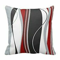Chic Wavy Vertical Stripes Red Black White Grey Cushion Cover Case 18 x 18 inch