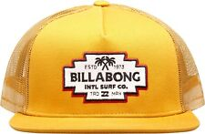 BILLABONG MENS BASEBALL CAP.FLATWALL FLAT PEAK GOLD MESH TRUCKER HAT 8S T02 581