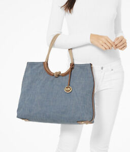 Michael Kors Isla Ring Navy Canvas Large Shoulder Tote, Beach Tote