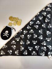 Kids DIY Halloween Costume Pirate scarf Pirate Bag Coins Skull & Crossbones BX3