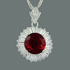 Brass CZ 18K White Gold Plated Red Ruby Round Cut Pendant Necklace Free Chain