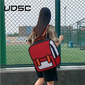 2D Drawing Backpacks For Women Jump Style Cartoon School Bag For Girls Rucksack