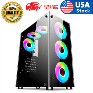 PC Case Gaming Computer Case ATX/MATX/ITX Mid Tower Case, Side Panel