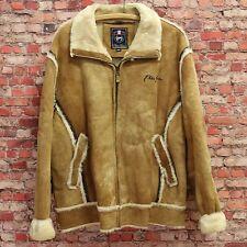 Phat Farm Tan Leather Jacket Men's Size 2XL - Shearling